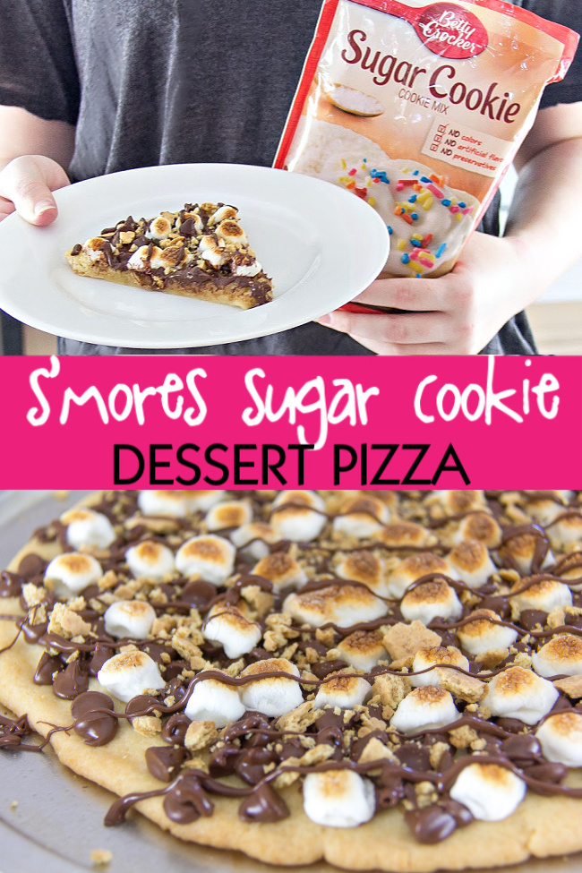 Make this S'mores Sugar Cookie Dessert Pizza with Kids