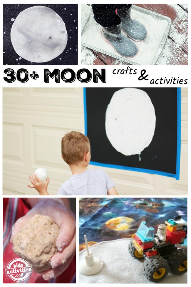 moon crafts and activities including making footprints on the moon, watercolor moon painting, moon sand, and pretend play exploring the moon's surface