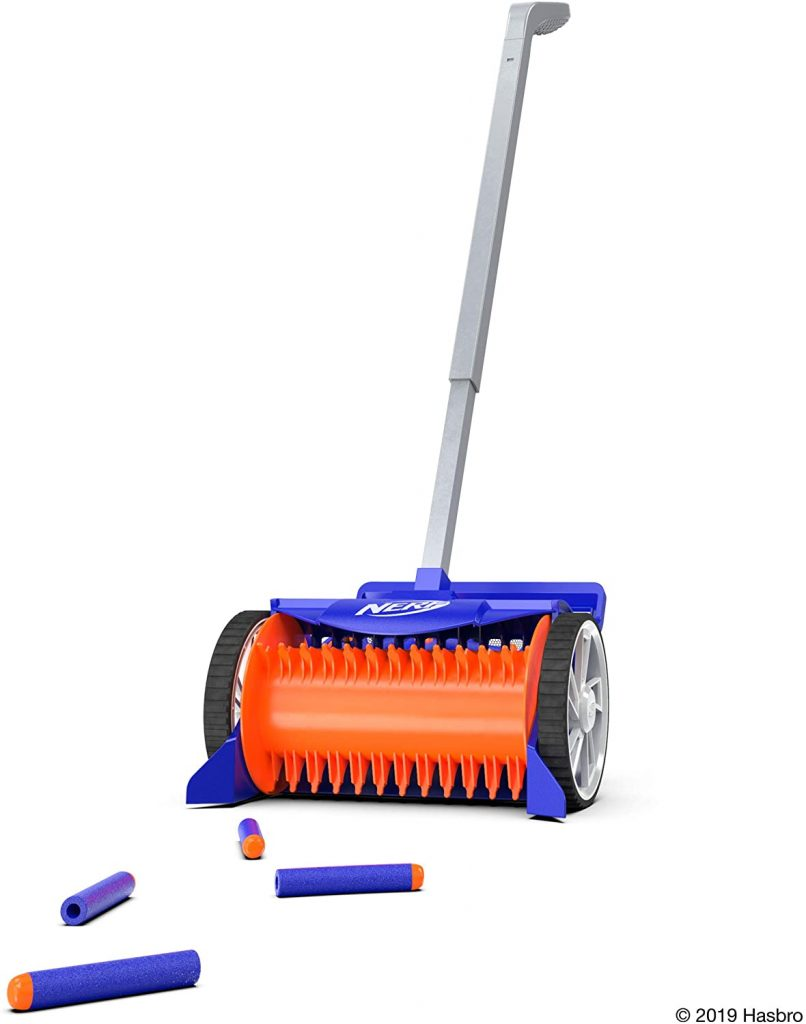 The nerf vacuum picks up all the nerf darts and is orange and blue with a long metal handle and 2 wheels.
