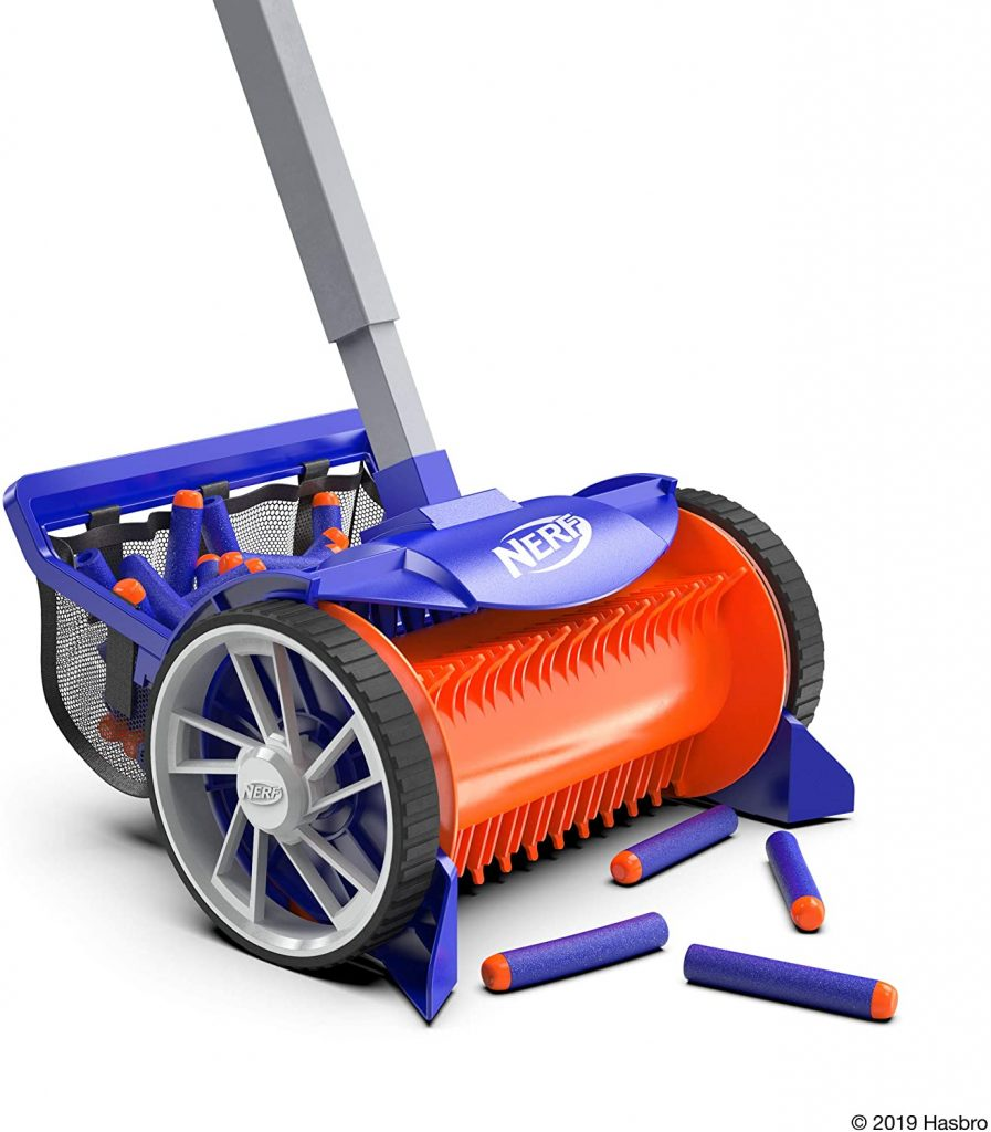 An up close image of the blue and orange nerf vacuum cleaning up nerf darts that go into the basket on the back of it.
