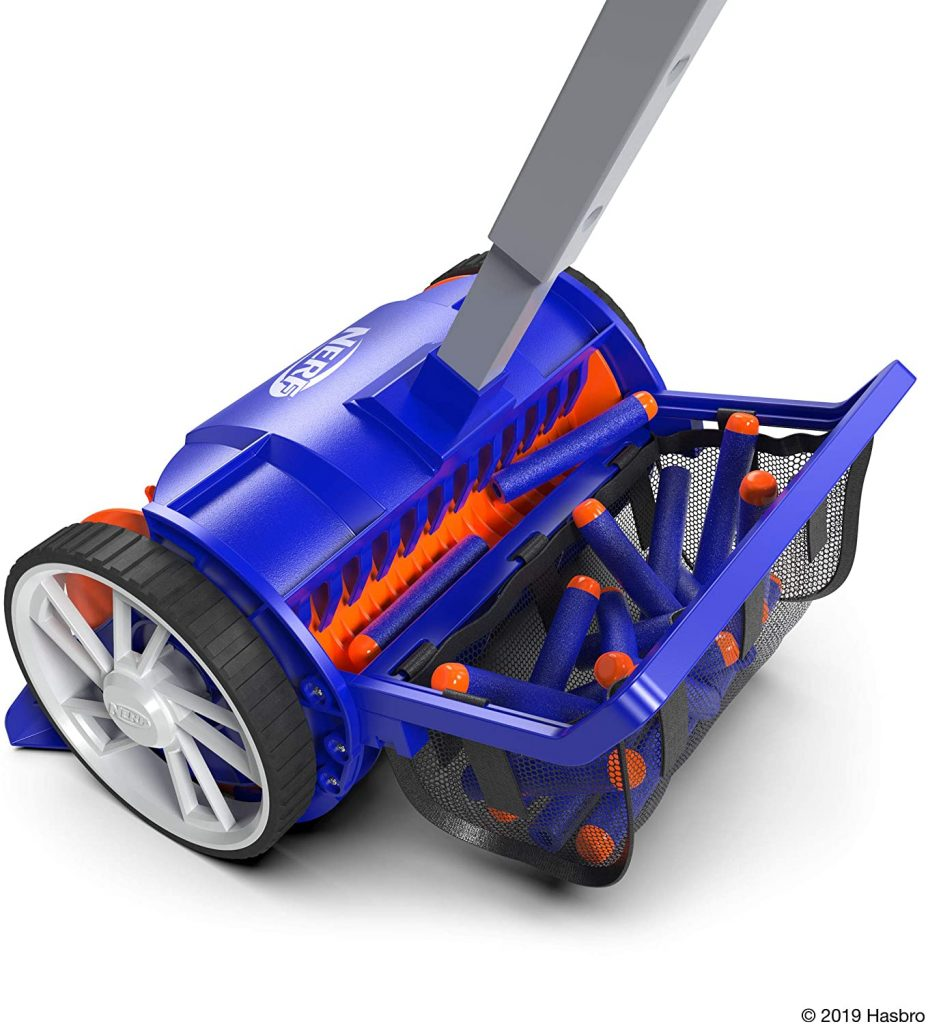 The blue and orange nerf vacuum as a basket on the back where it holds all the nerf darts.