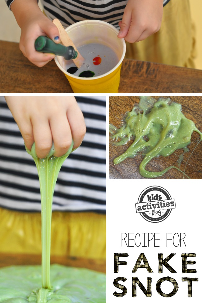 How to make fake snot slime recipe for kids - steps for making gross and fun slime activity - 3 images of fake snot play