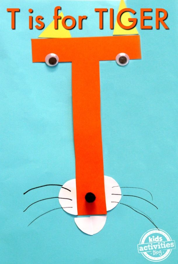 T is for tiger - preschool kindergarten letter t craft - tiger with whiskers made out of craft paper