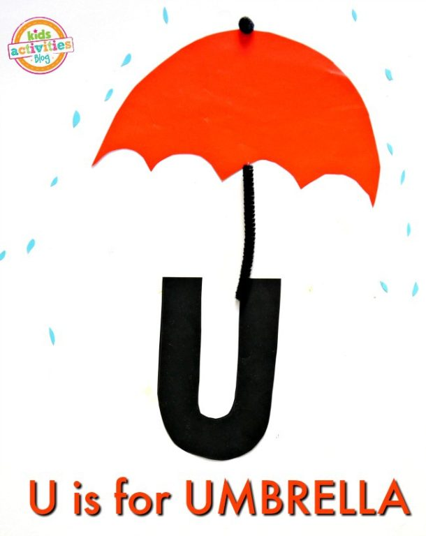 U is for Umbrella - letter U craft for preschool and kindergarten - umbrella with raindrops made out of craft paper