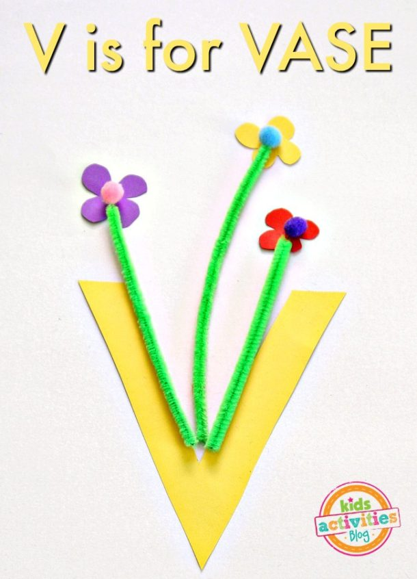 V is for Vase - kindergarten letter v craft - craft paper vase with pipe cleaner flowers