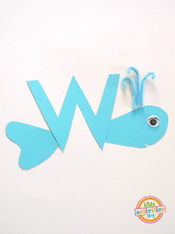 W is for Whale - letter w craft for preschool and kindergarten - whale made out of craft paper