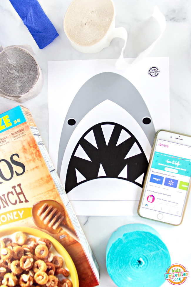 printable shark picture and a cereal box to make a pinata