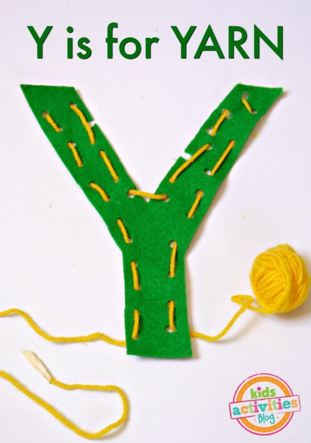 Y is for Yarn - letter Y craft for kindergarten preschool - yard Y