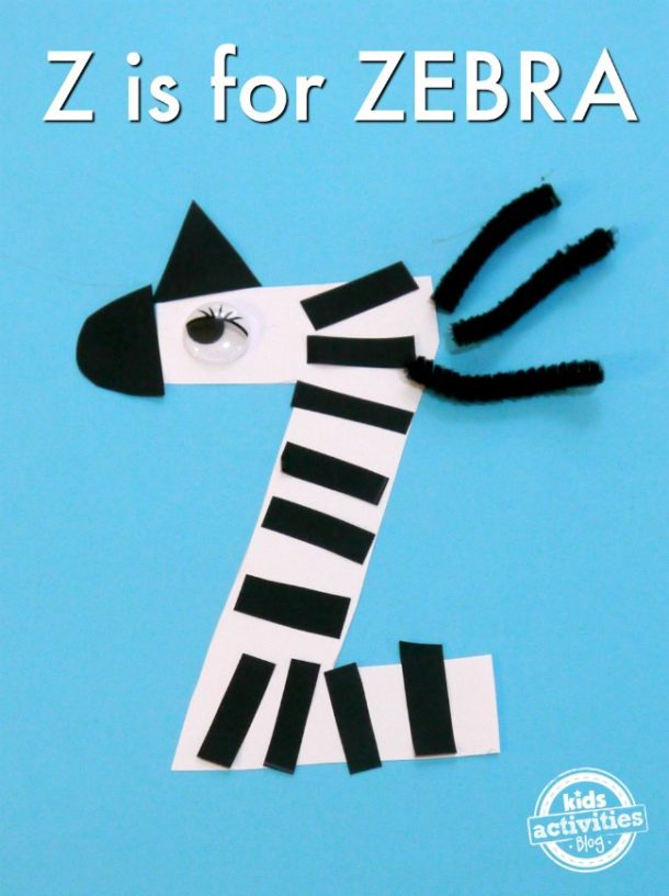 letter z craft for kindergarten and preschool - zebra with black stripes and googly eyes out of craft paper