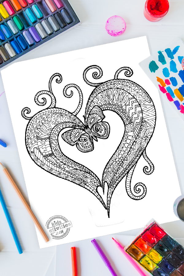 Zentangle Butterfly Heart Coloring Page