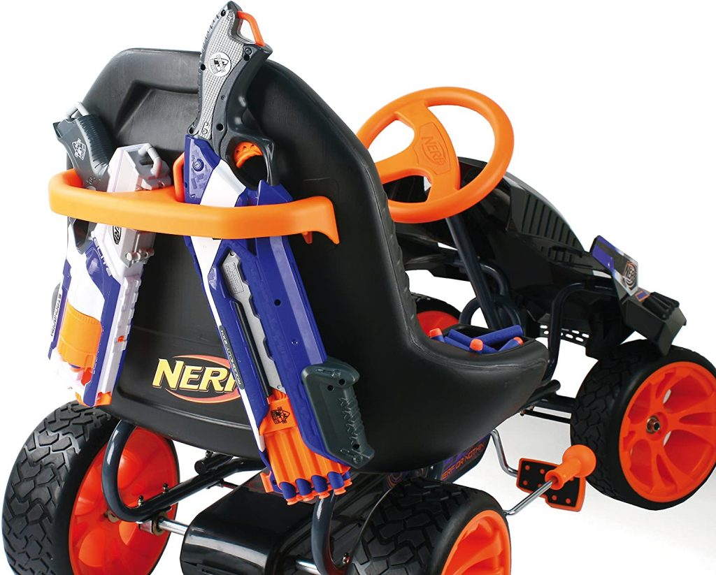 Nerf Battle Racer go kart for kids shown from back with additional storage for Nerf toys and clear vision of the hand brake system