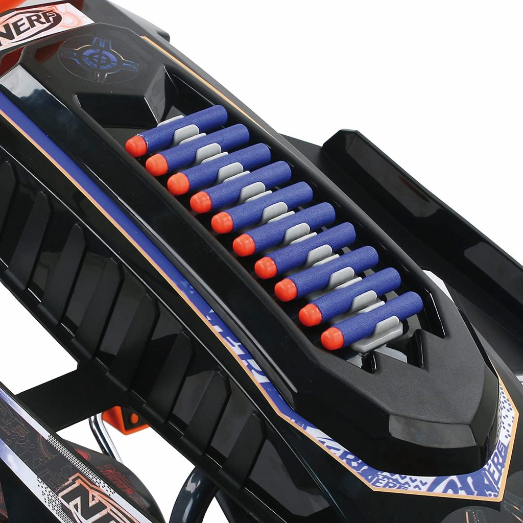 Nerf Battle Racer go kart has storage places for other Nerf toys
