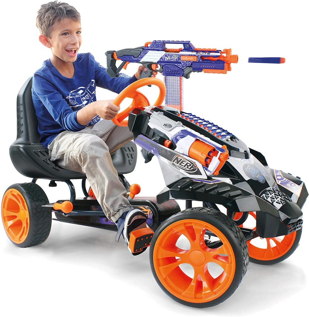 Nerf Battle Racer with child riding feet on pedals using a nerf shooter