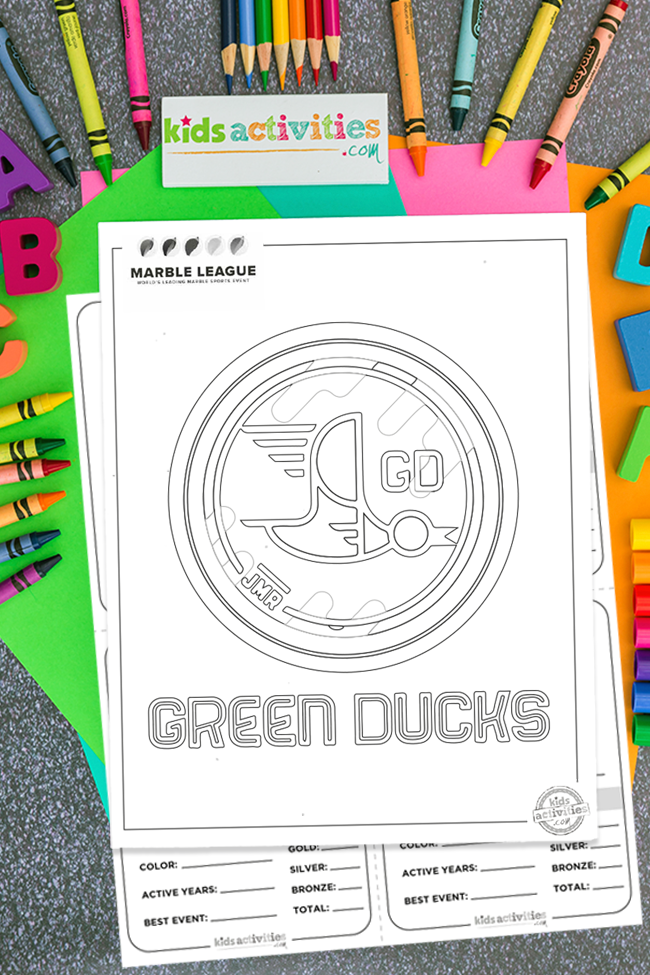 Green Ducks marble runs team logo printable