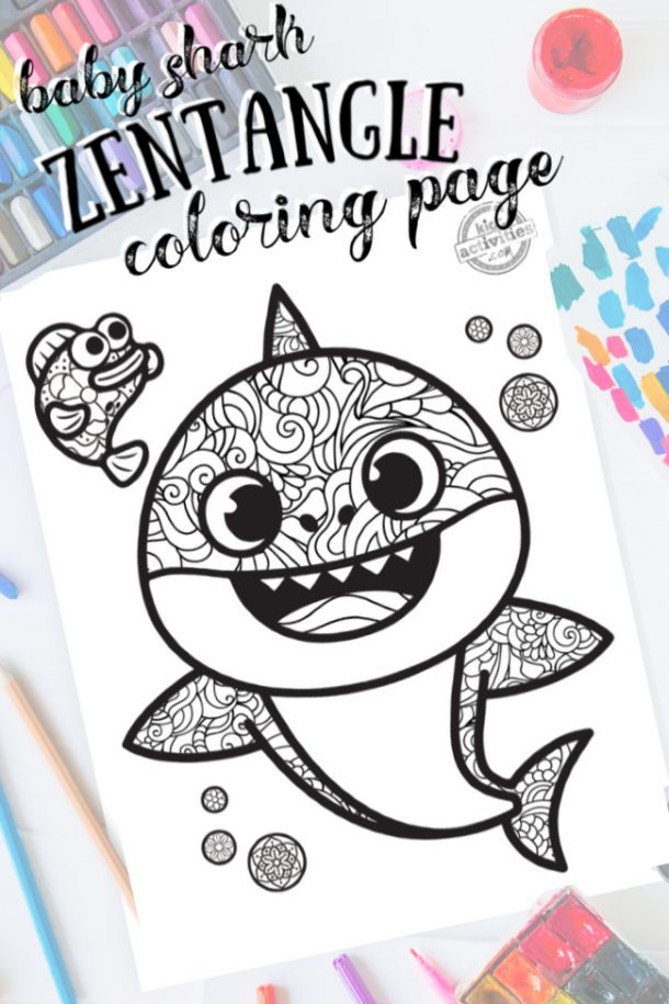 intricate baby shark zentangle pattern art ready to be colored with mixed art supplies and bright colors