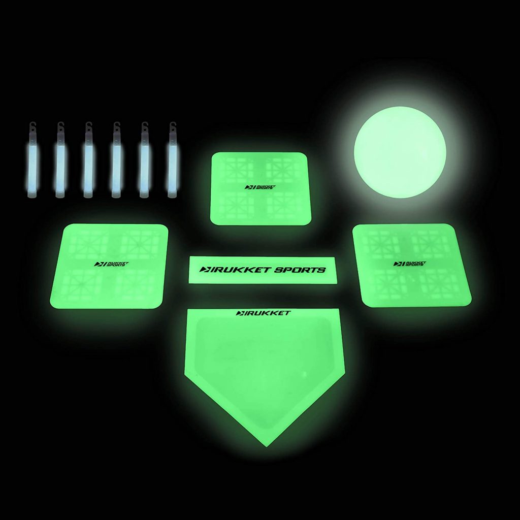 Kickball set with glow sticks, pitchers mounds, and bases, and a 10 inch ball that glows in the dark.