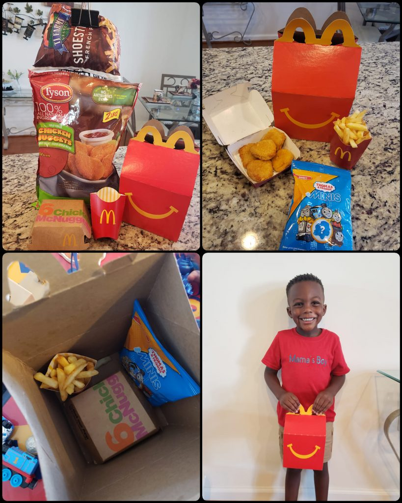 Tanesha's son loved happy meals so she makes them homemade with shoestring fries, and Tyson chicken nuggets, and cookies.