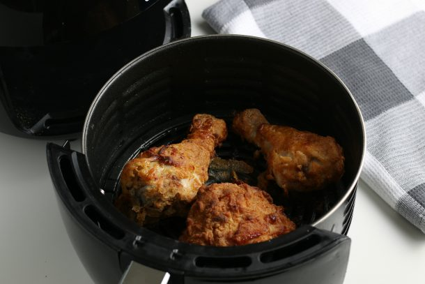 Air Fryer Fried Chicken recipe in air fryer crisping up