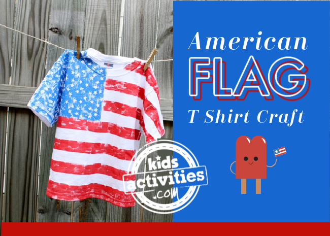 American Flag T-Shirt Craft from Kids Activities Blog - finished USA flag t-shirt hanging on fence