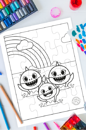 Super Cute and Easy Baby Shark Puzzle Printables