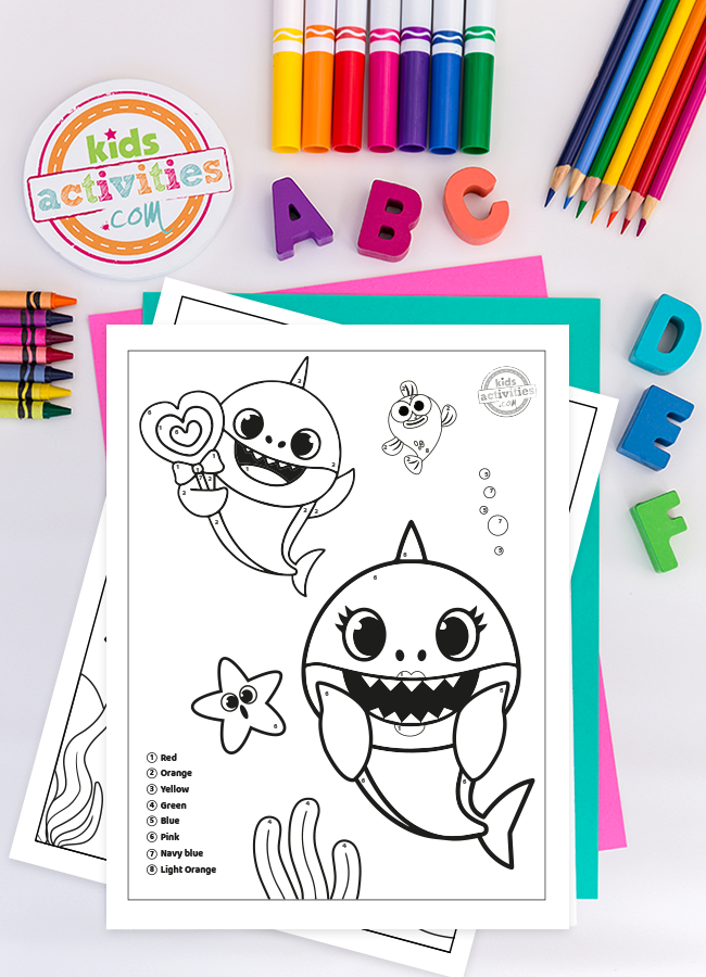 Free Baby Shark Color By Number Printables