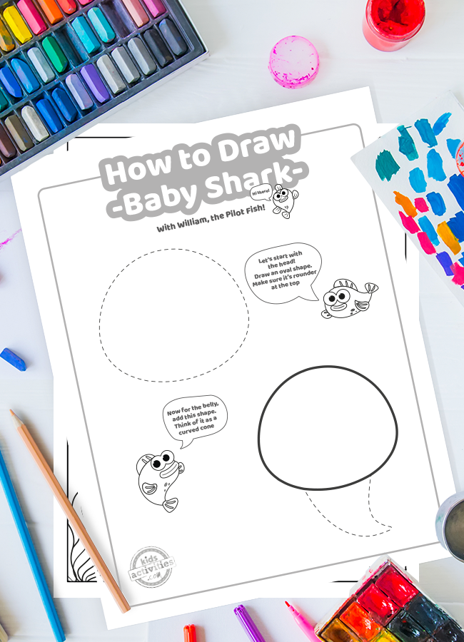 Baby Shark drawing tutorial pages shown from the How to Draw Baby shark printable set surrounded by crayons, paint and colored pencils