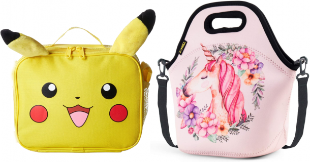 Best lunch boxes for kids. Pokemon Pikachu character lunch box and unicorn lunch bag.