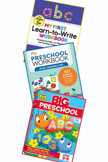 The covers of the top three best selling preschool workbooks