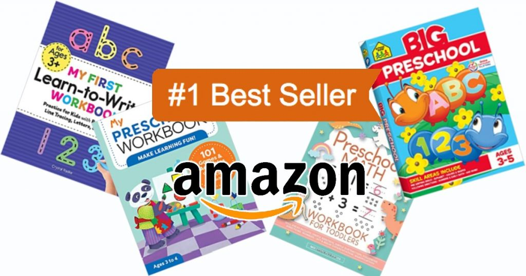 These top selling preschool workbooks will keep kids 2-5 busy and having fun while learning.  Shown are 4 top selling book titles from Amazon.
