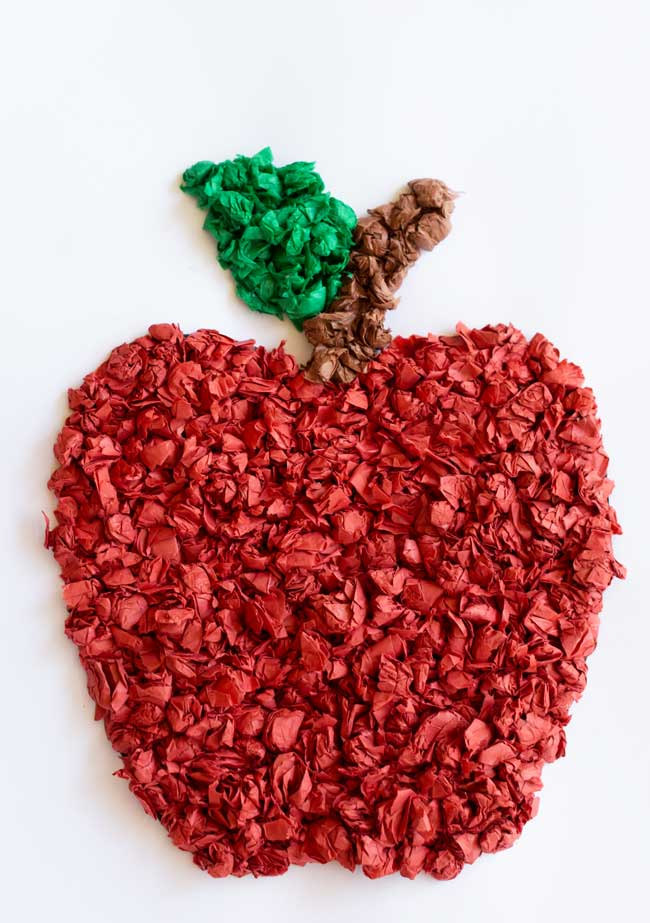 Cute Tissue Paper Back-to-School Apple Craft