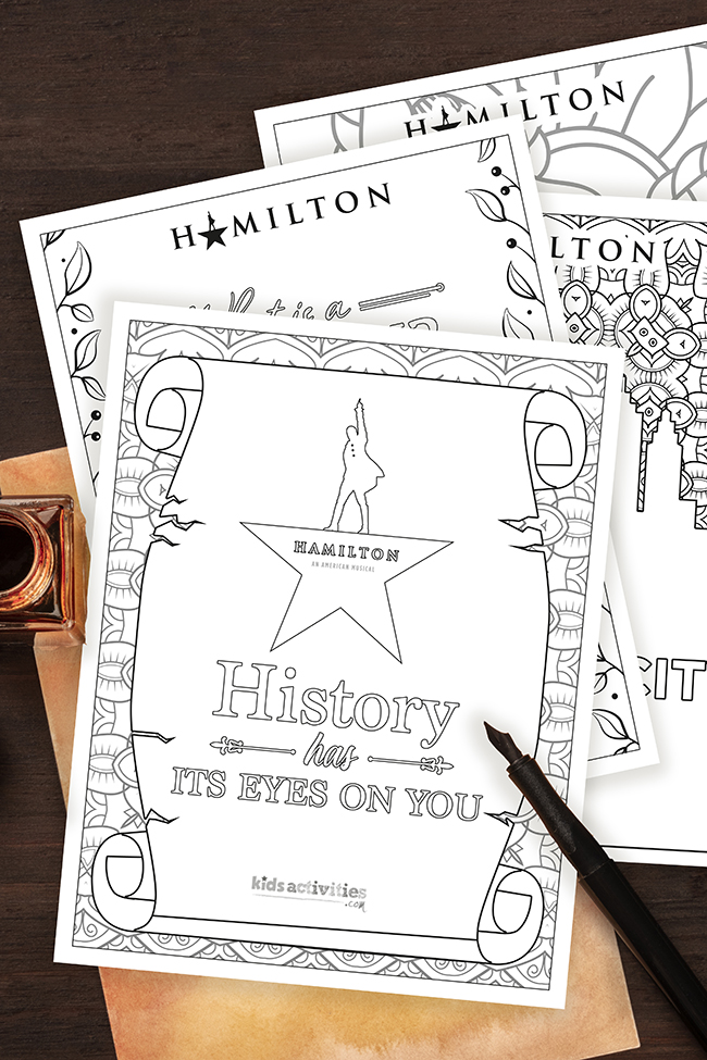 Hamilton coloring pages over a vintage sheet of paper and fountain pen, inspired by the musical about the life of Alexander Hamilton