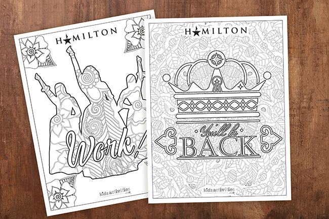 free printable inspired by Alexander Hamilton and King George III