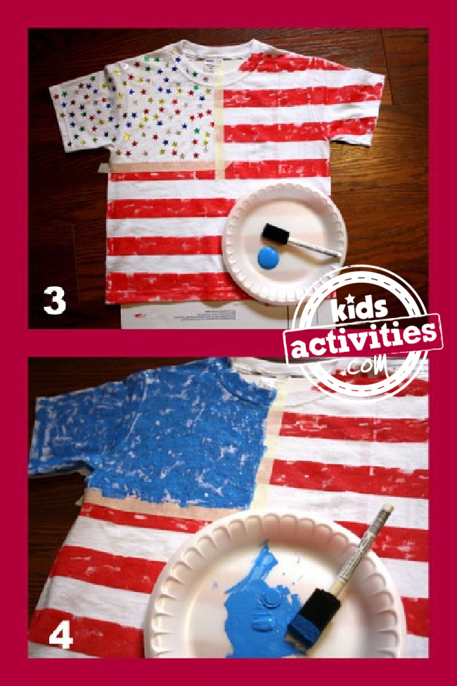 How to make a 4th of July American Flag Shirt steps 3 and 4 - Kids Activities Blog