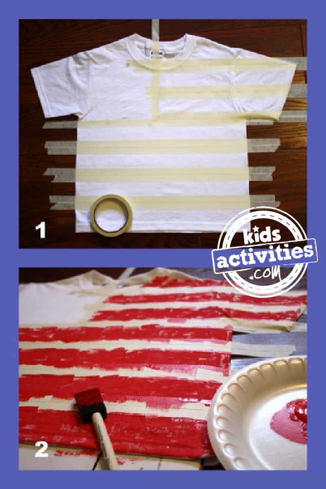 How to make an American Flag T-Shirt steps 1 and 2 directions - Kids Activities blog