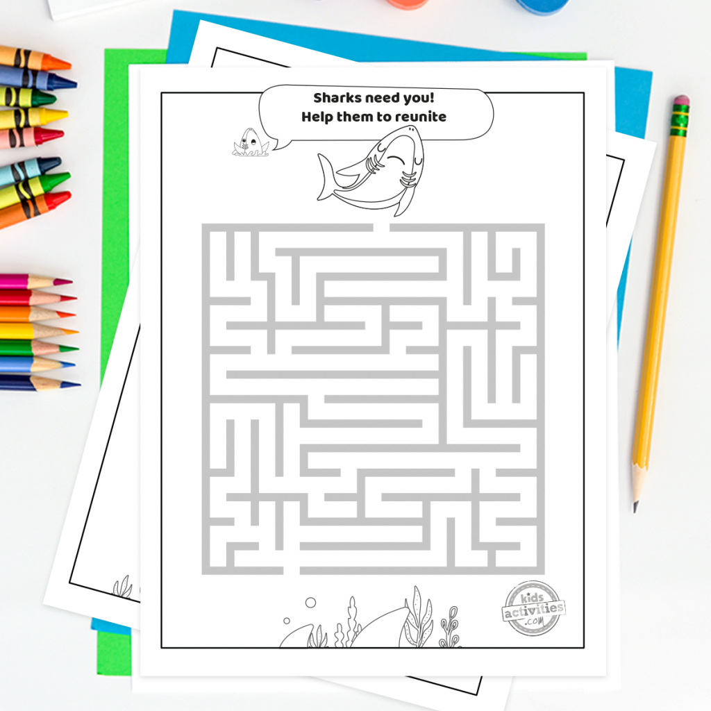 Shark Week maze printable