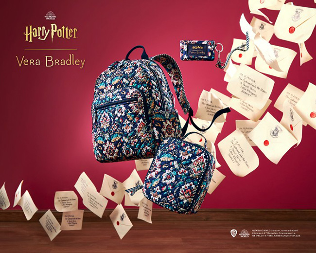 Harry Potter Backpack from Vera Bradley with a unique pattern of golden snitches, wizard glasses, time turner, owls, and more