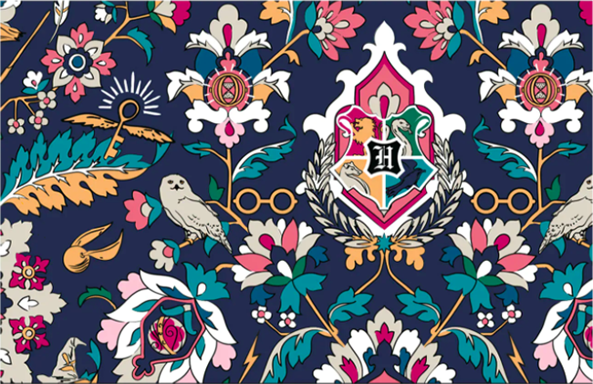 Intricate Harry Potter pattern from Vera Bradley featured on backpacks, handbags, accessories and more.
