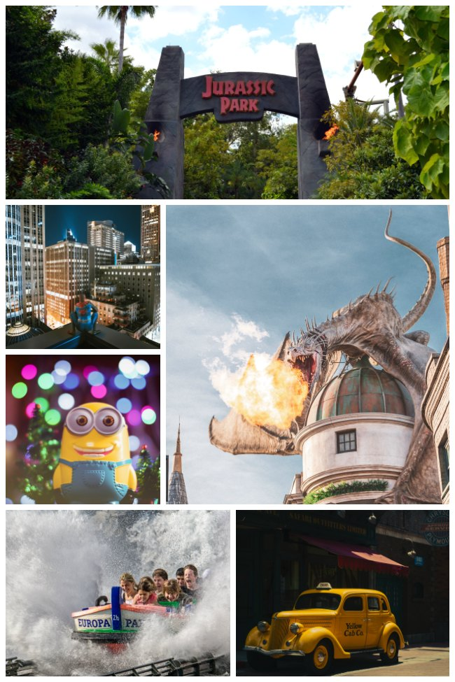 A collage of images from Universal Studios - from water rides to minions to a Yellow Cab Co. car to Jurassic Park to Spiderman to a fire-breathing dragon.