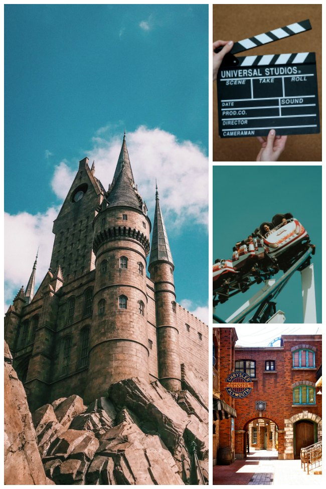 A collage of images showing rides at Universal Studios, including a castle, a roller coaster, a brick building, and a black clapperboard that says Universal Studios on in it.