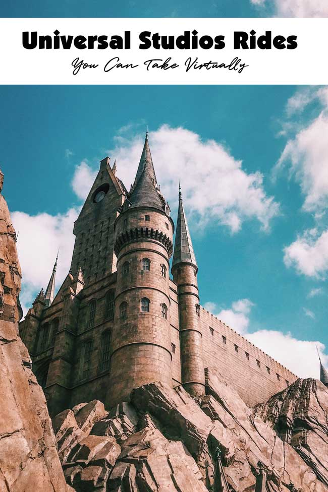 A photo of a Harry Potter castle like that at Universal Studios theme park with the sunshine hitting it and a blue sky and white puffy clouds up above.