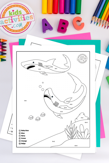 Shark Week Color By Number Addition Coloring Pages