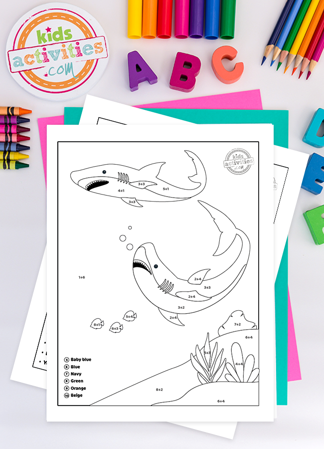 Make Shark Week Fun with Addition Color by Number Worksheets