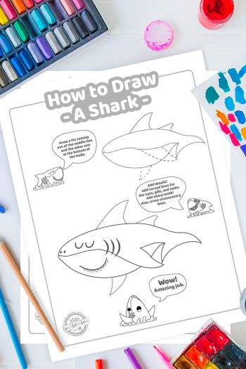 how to draw a shark - make your own shark drawing by following simple tutorial