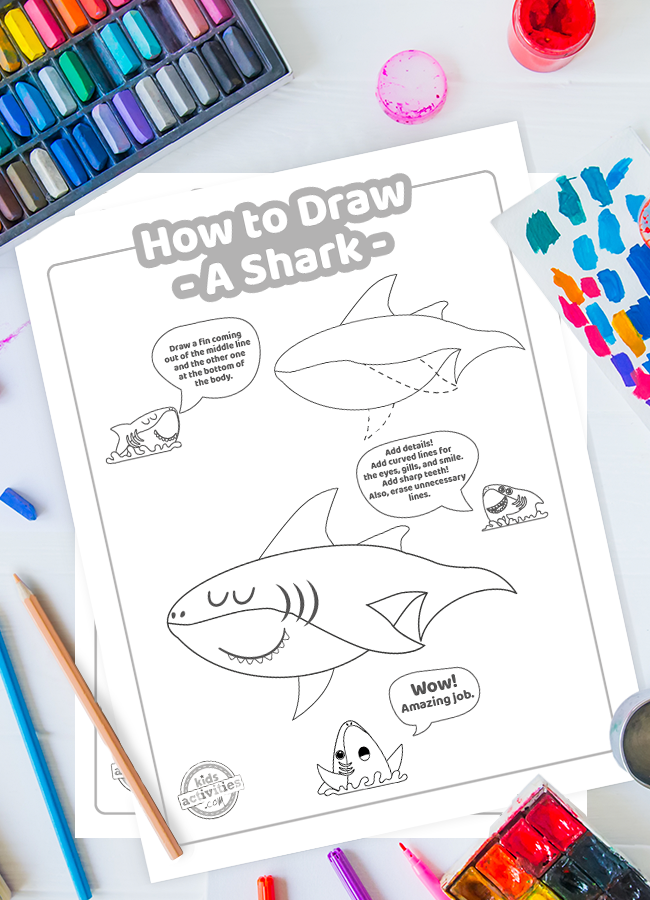 how to draw a shark printable step by step tutorial - download, print & draw a shark yourself!