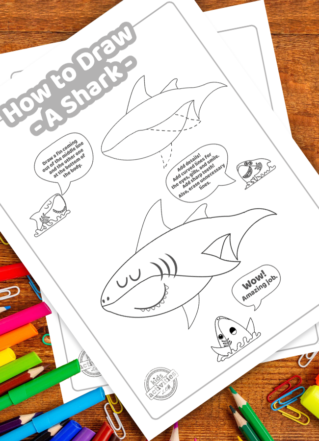 shark drawings - how to draw a shark printable tutorial with easy steps