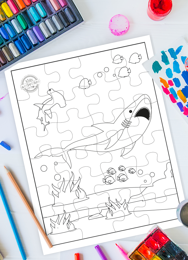 shark coloring page puzzle printable activity