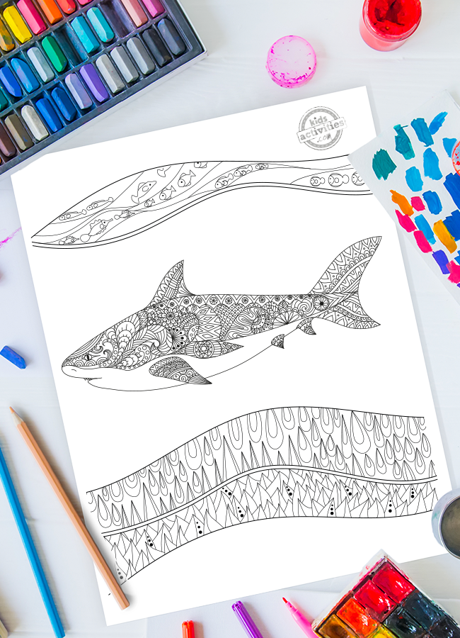 Shark Zentangle Coloring Page Perfect for Shark Week
