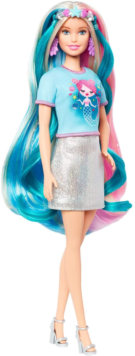 This Barbie Fantasy Hair Doll Comes with Rainbow Hair and Unicorn and Mermaid Outfits