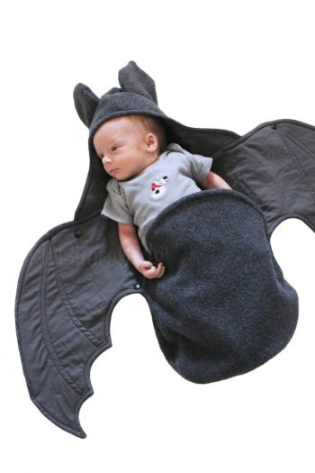 Baby Bat Swaddle Blanket with baby inside