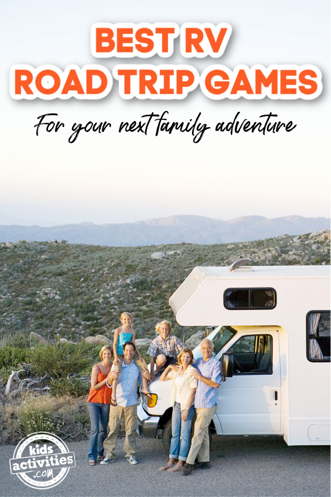 RV with a family standing in front - road trip games